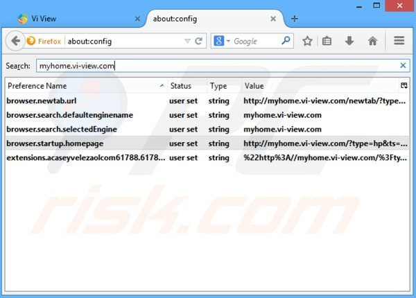Removing myhome.vi-view.com from Mozilla Firefox default search engine