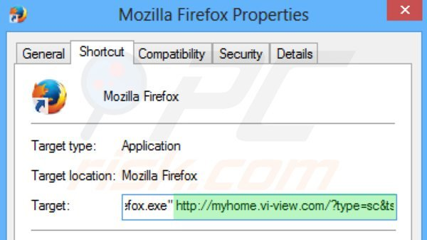 Removing myhome.vi-view.com from Mozilla Firefox shortcut target step 2