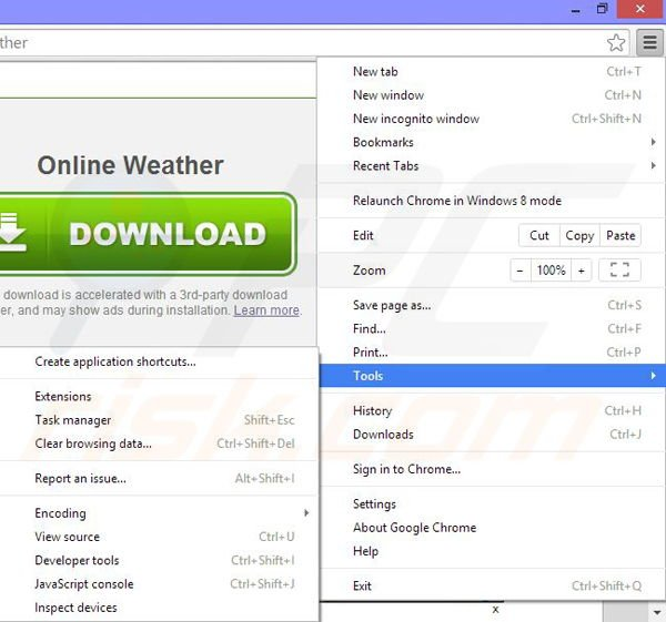 Removing Online Weather ads from Google Chrome step 1