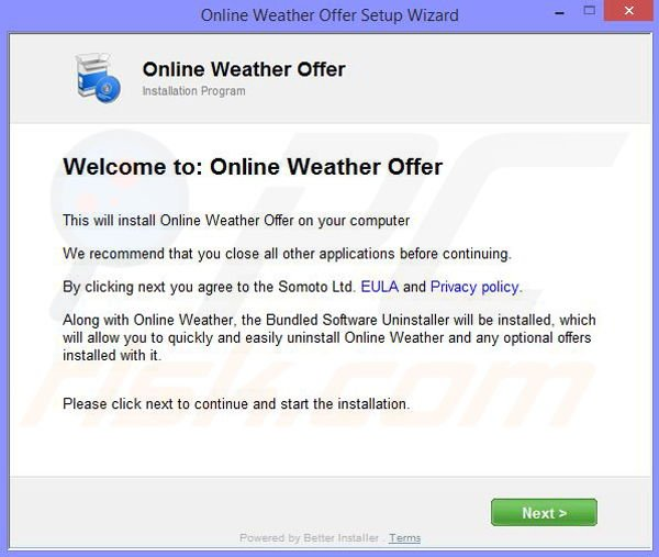 Online Weather Installation setup