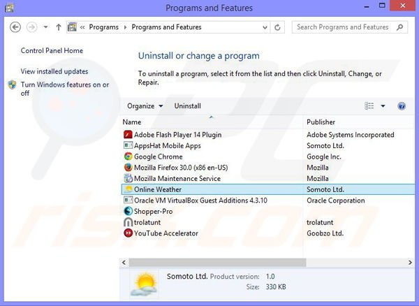 Online Weather adware uninstall via Control Panel