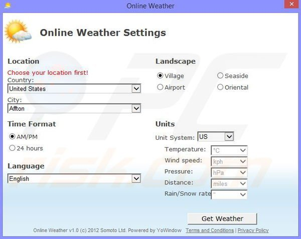 Online Weather Settings