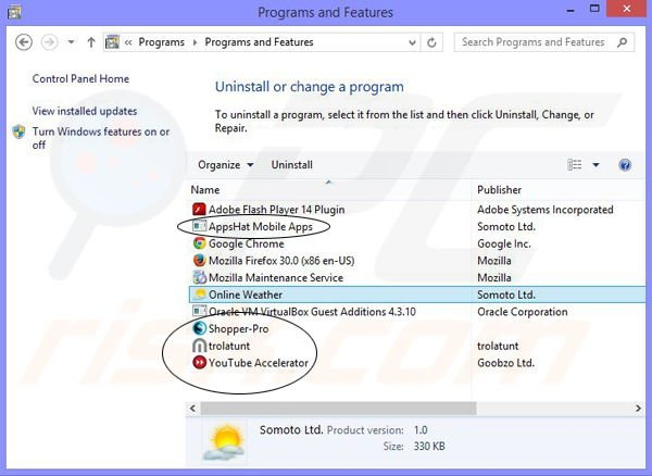 Programs that installed together with Online Weather