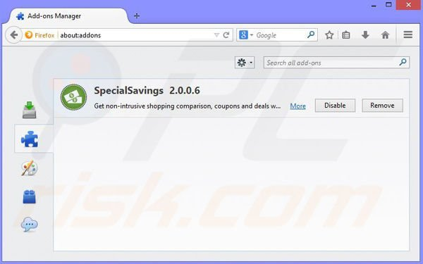 Removing SuperIntext ads from Mozilla Firefox step 2