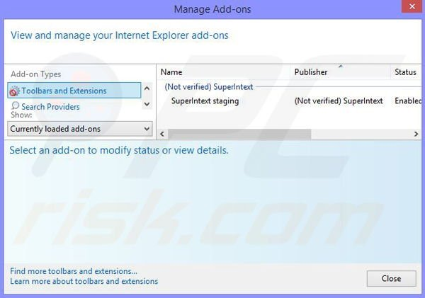 Removing SuperIntext ads from Internet Explorer step 2