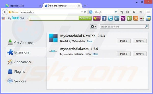 Remove Taplika browser hijacker from Mozilla Firefox step 1