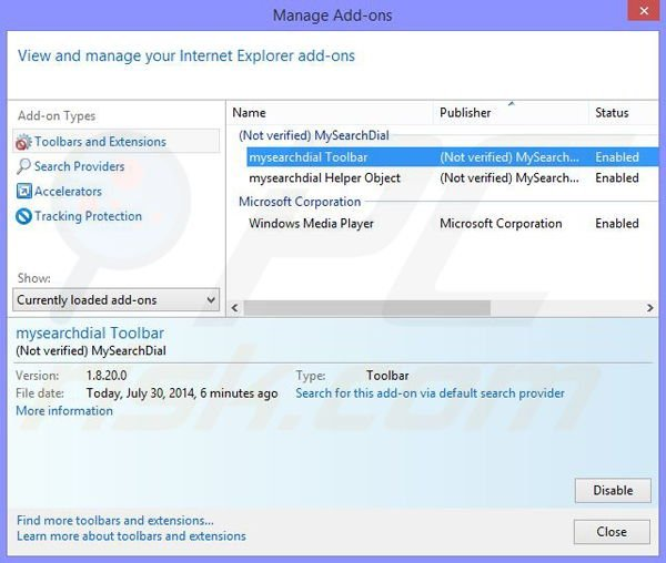 Remove Taplika browser hijacker from Internet Explorer step 1