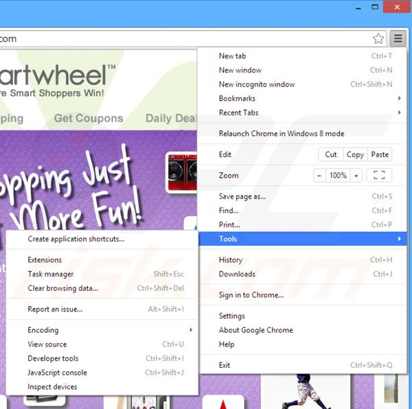 Removing Cartwheel Shopping ads from Google Chrome step 1