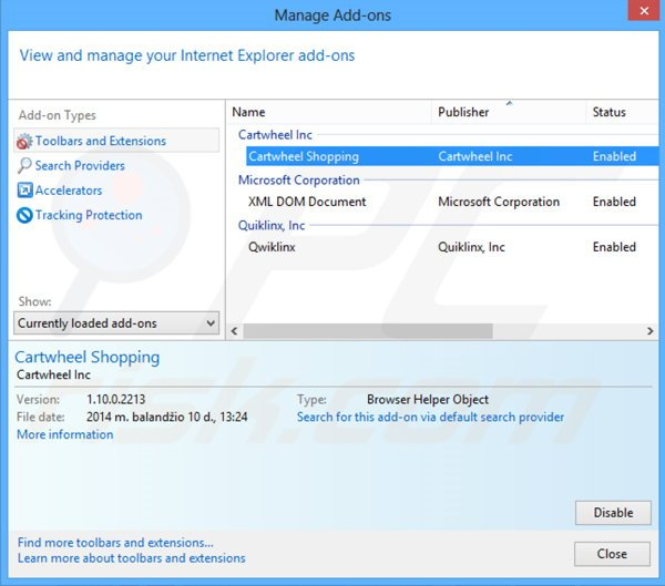 Removing Cartwheel Shopping ads from Internet Explorer step 2