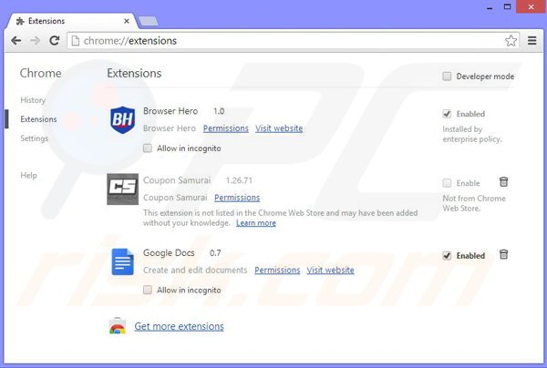 Removing Dolphin Deals from Google Chrome step 2