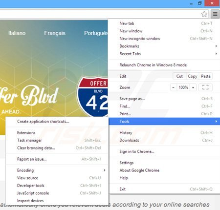 Removing offer boulevard ads from Google Chrome step 1