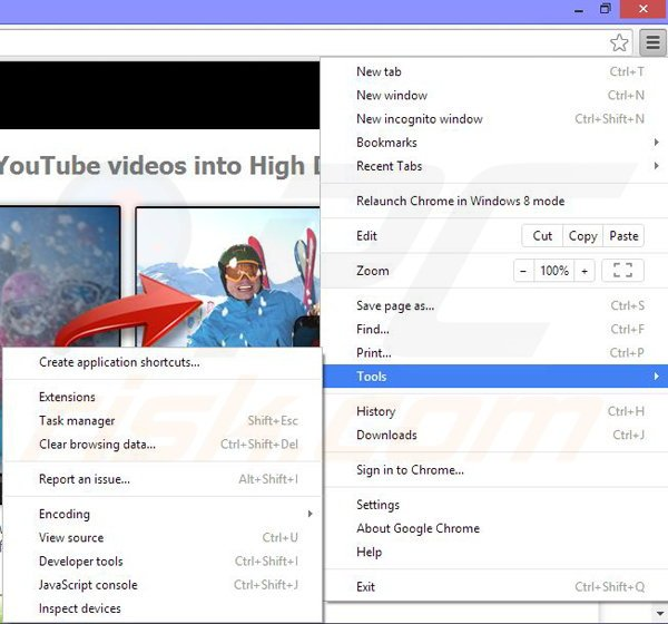 Removing 123HD-Plus ads from Google Chrome step 1