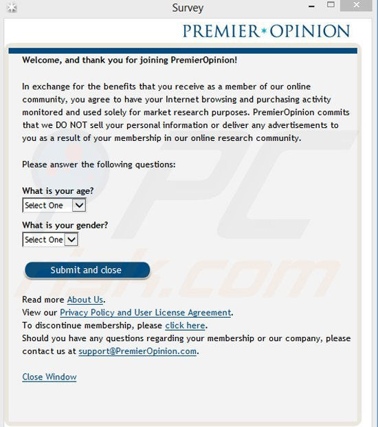 premieropinion adware generating online surveys