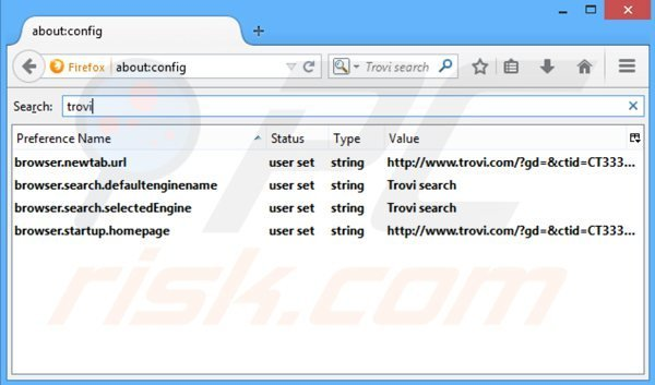 Removing trovi.com from Mozilla Firefox default search engine
