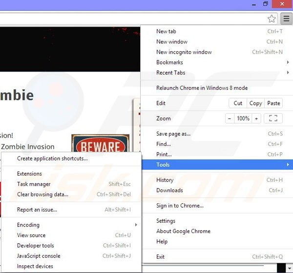 Removing Zombie Invasion ads from Google Chrome step 1