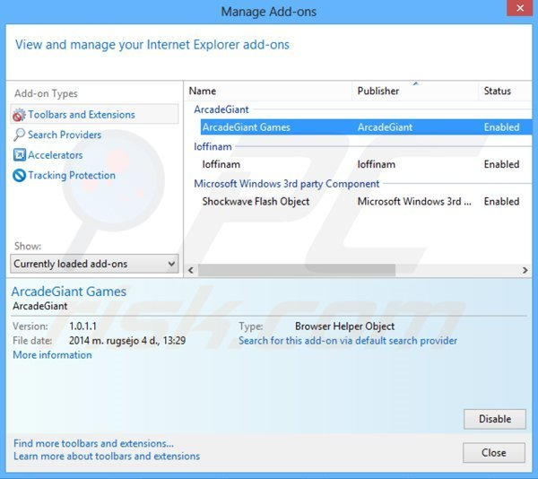 Removing ArcadeGiant ads from Internet Explorer step 2