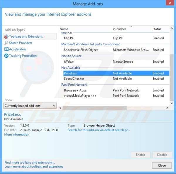 Removing priceless ads from Internet Explorer step 2