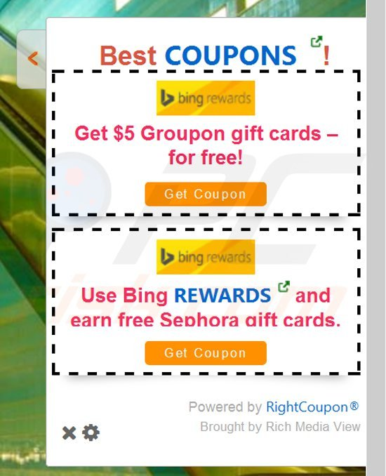 rich media view generating intrusive coupon ads