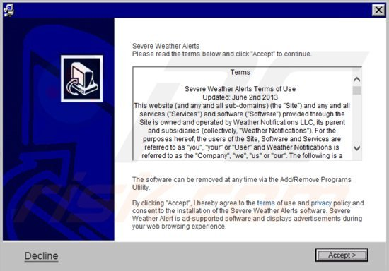 How to uninstall Severe Weather Alerts Ads - virus removal