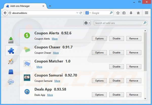 Removing TopBuyer ads from Mozilla Firefox step 2