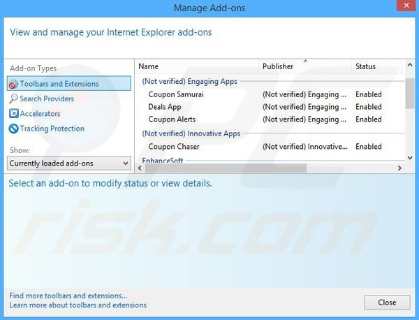 Removing TopBuyer ads from Internet Explorer step 2