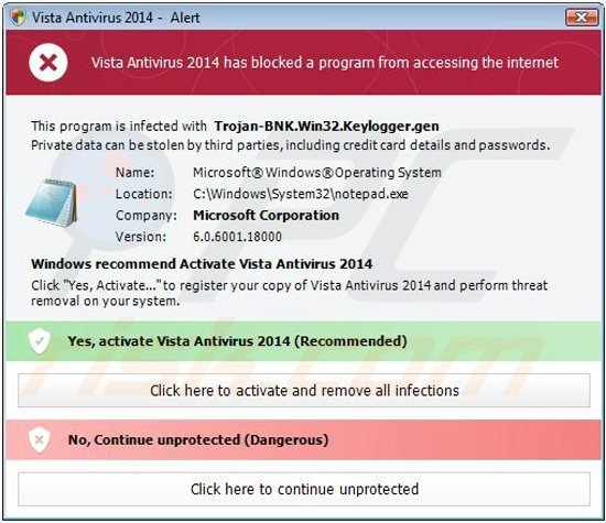 vista antivirus 2014 blocking execution of installed programs