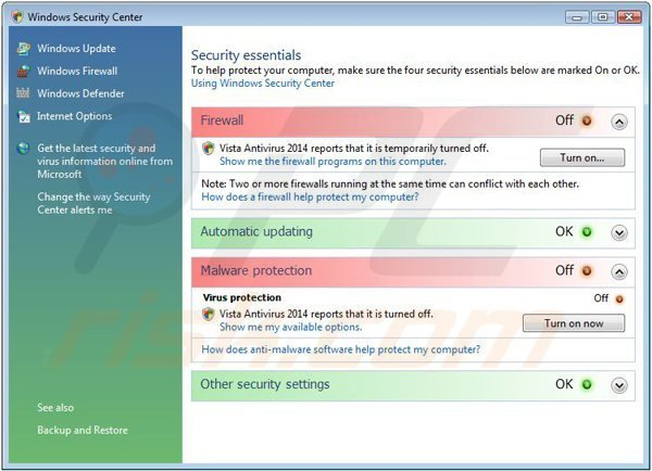 vista antivirus 2014 displaying a fake Windows Security Center