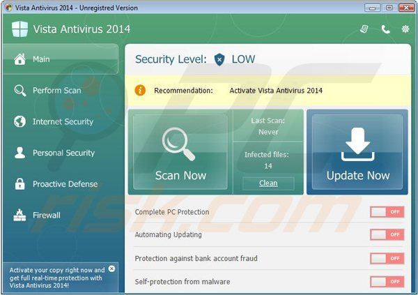 vista antivirus 2014 fake antivirus program