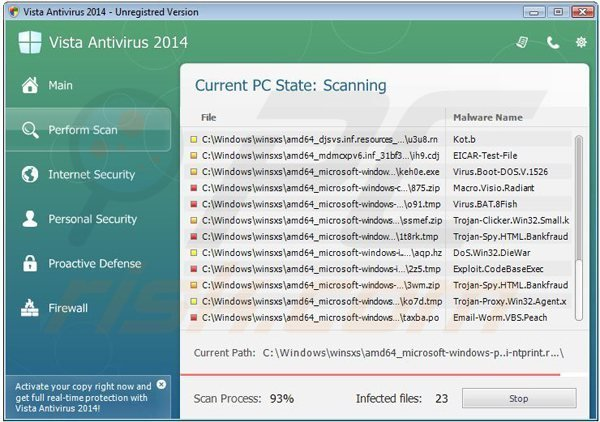 vista antivirus 2014 performing a fake computer security scan