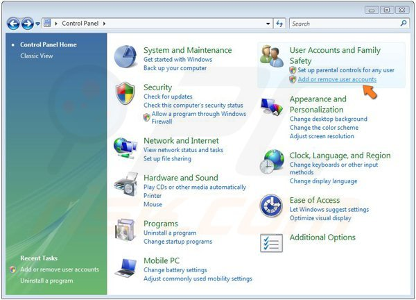 Turning on Guest account on Windows Vista step 2 - clicking add or remove user accounts