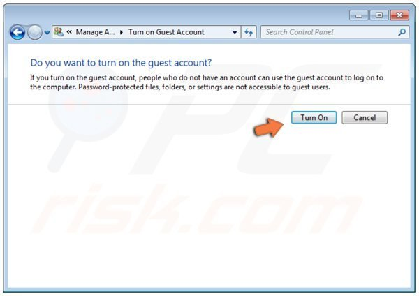 Windows 7 turn on guest account