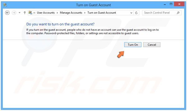 Turning on Guest user in Windows 8 step 4 - clicking