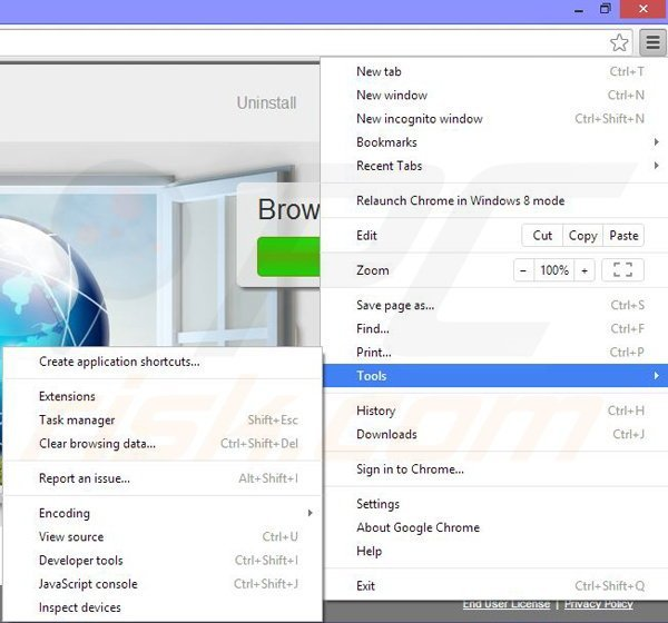 Removing window web from Google Chrome step 1