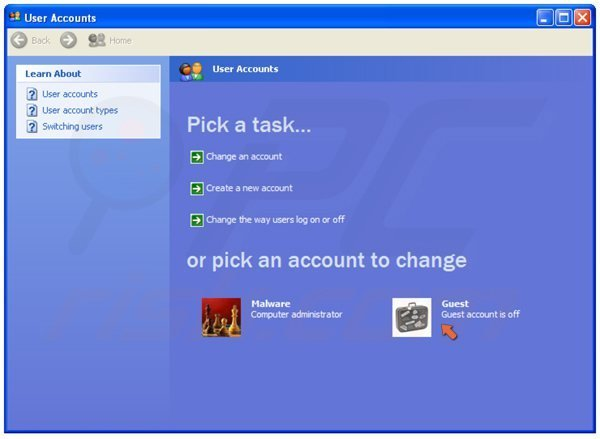 Turning on a guest user on Windows XP step 3 - clicking