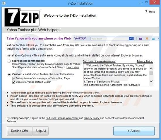 Verizon yahoo toolbar with internet explorer