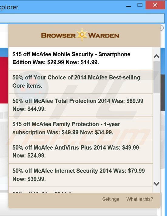 browser warden coupon ads