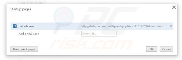 Removing delta-homes.com from Google Chrome homepage