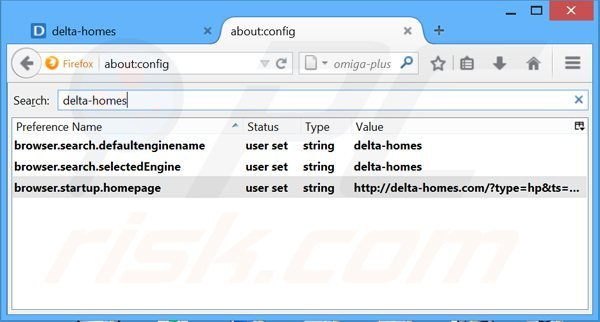 Removing delta-homes.com from Mozilla Firefox default search engine