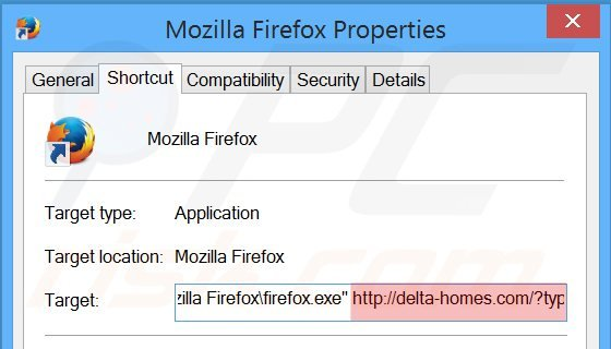 Removing delta-homes.com from Mozilla Firefox shortcut target step 2
