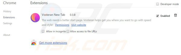 Removing vosteran.com related extensions from Google Chrome