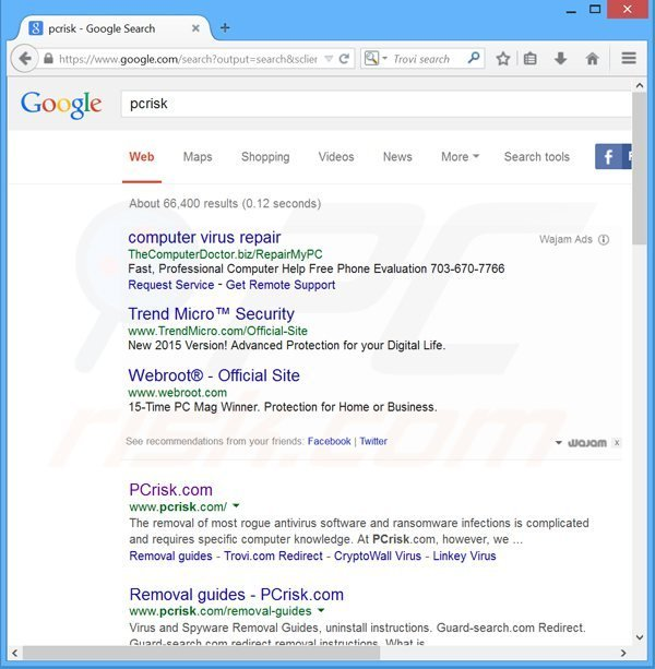 wajam adware generating intrusive ads in Google search results