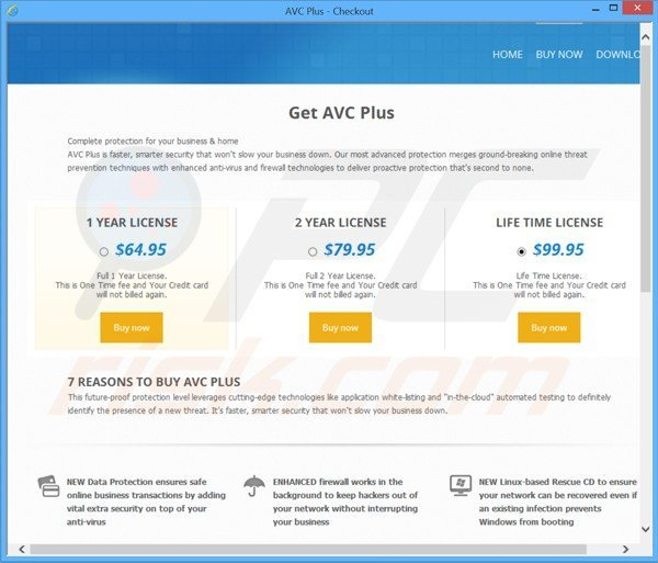 Rogue website used to collect payments from avc plus fake antivirus license keys