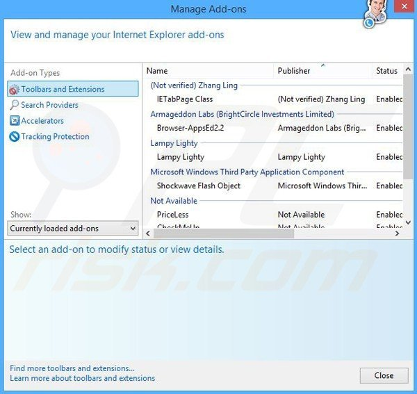 Removing Coupon Alert ads from Internet Explorer step 2