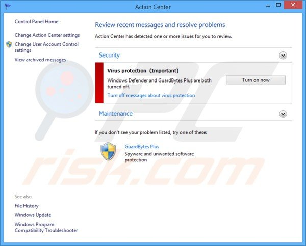 guardbytes plus displaying a fake Windows Action Center