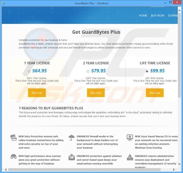 rogue website used for selling guardbytes plus fake antivirus license keys