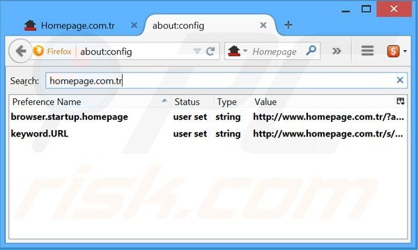 Removing Homepage.com.tr from Mozilla Firefox default search engine