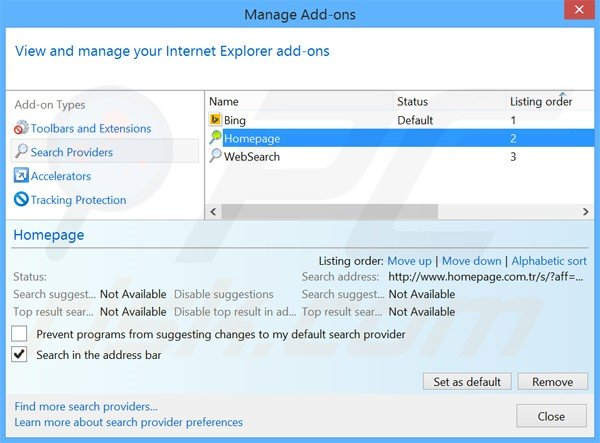 Removing Homepage.com.tr from Internet Explorer default search engine