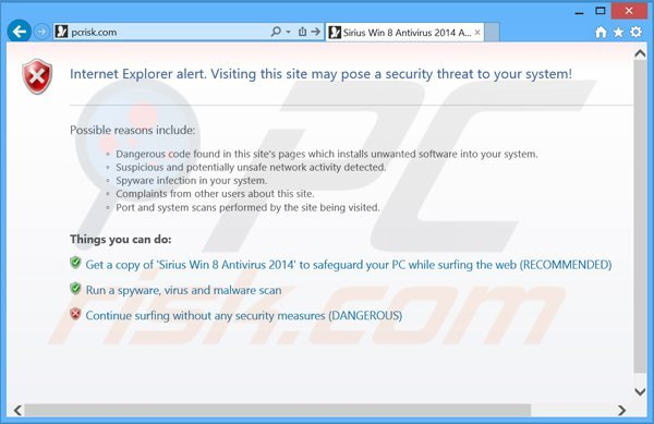sirius win 8 antivirus 2014 blocking Internet access
