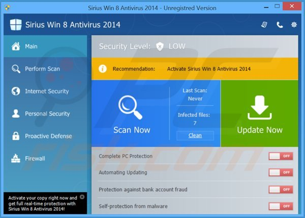 sirius win 8 antivirus 2014 main window