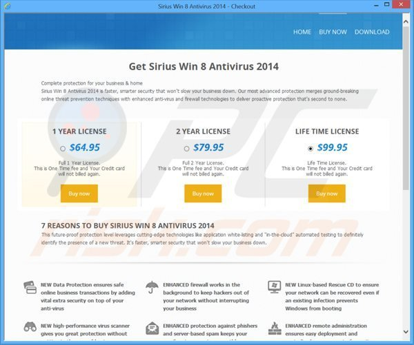 sirius win 8 antivirus 2014 rogue payment website